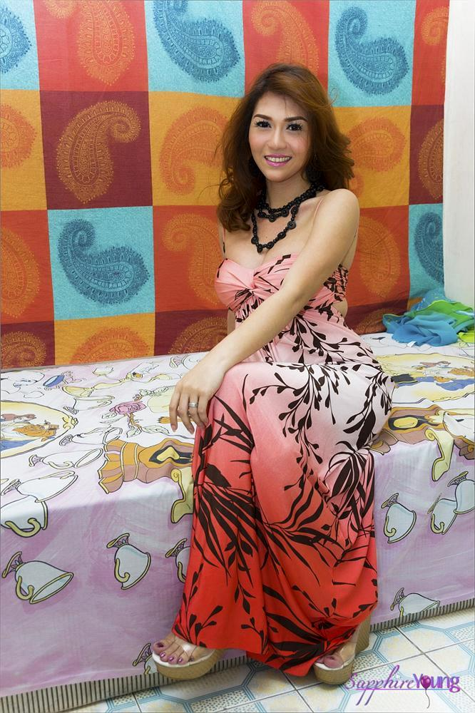 Cute Thai Ts Sapphire Young In Flowered Dress