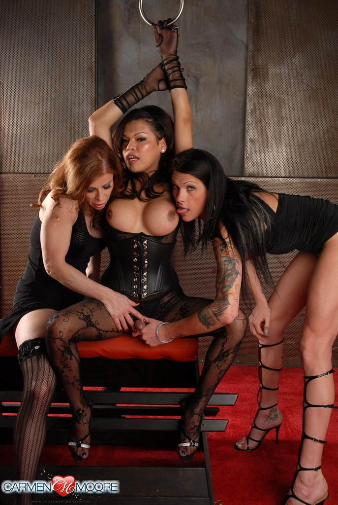 Filthy Carmen Having Oral In A Sensual TS Threesome