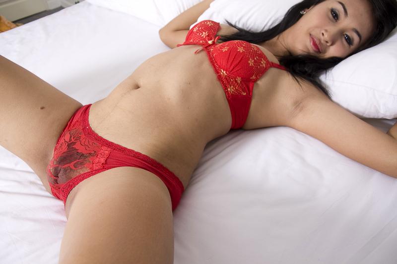 Fresh Amatuer Thai Ladyboy Rub's Her Rough Spunk Stick