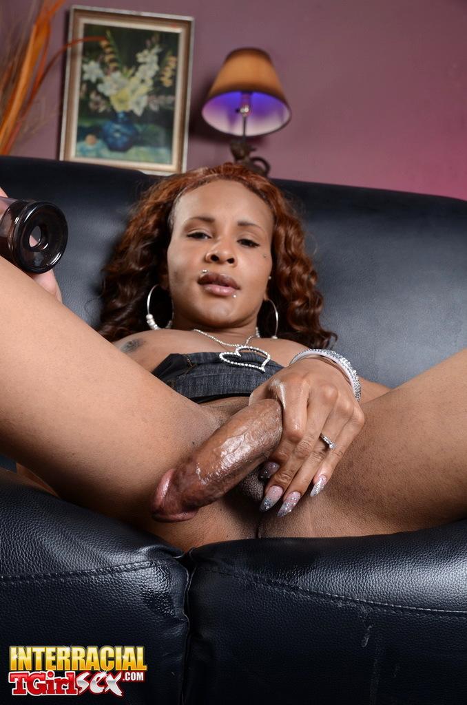 Horny Ebony TS Chyna Playing With A Dick Fill