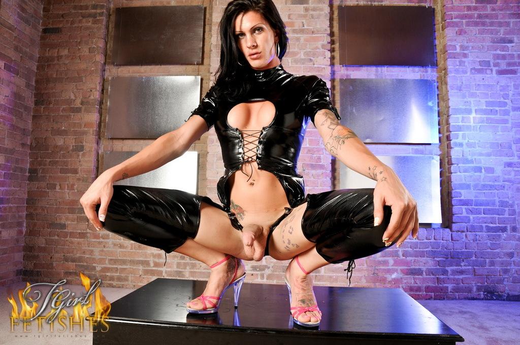 Huge Dicked Morgan Posing In Latex Catsuit