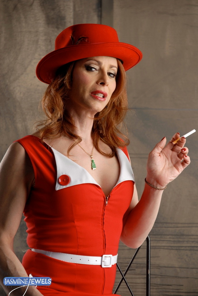 Jasmine Smoking Posing In A Arousing Vintage Dress