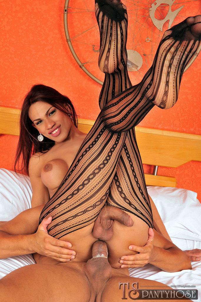 Ladyboy Pantyhose Torn Open For Massive Dick