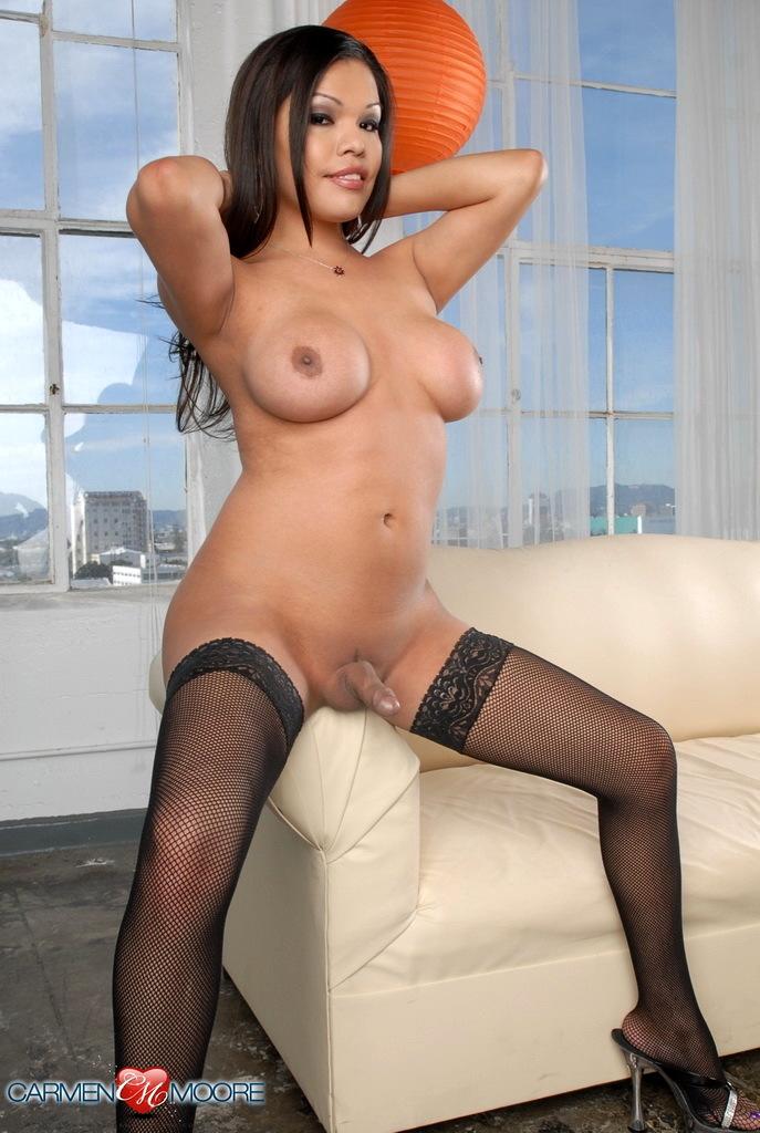 Massive Titted Carmen Posing In Seductive Stockings