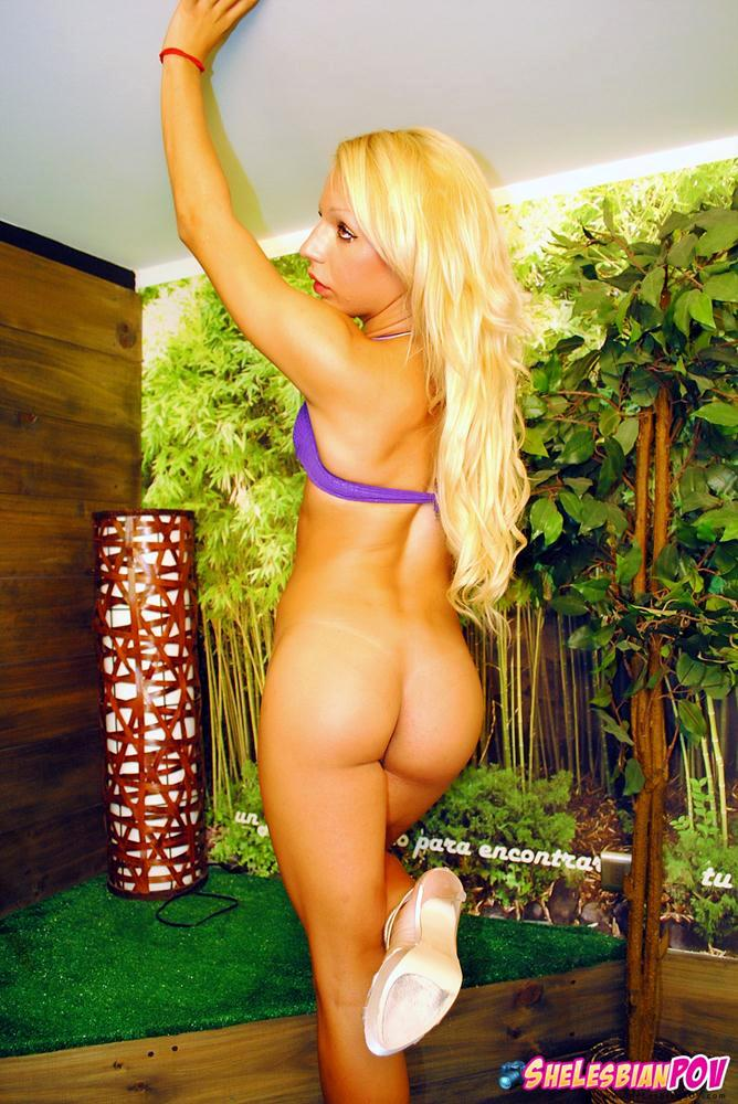 Small Blonde Shemale With An Oversized She Cock Gets Naked
