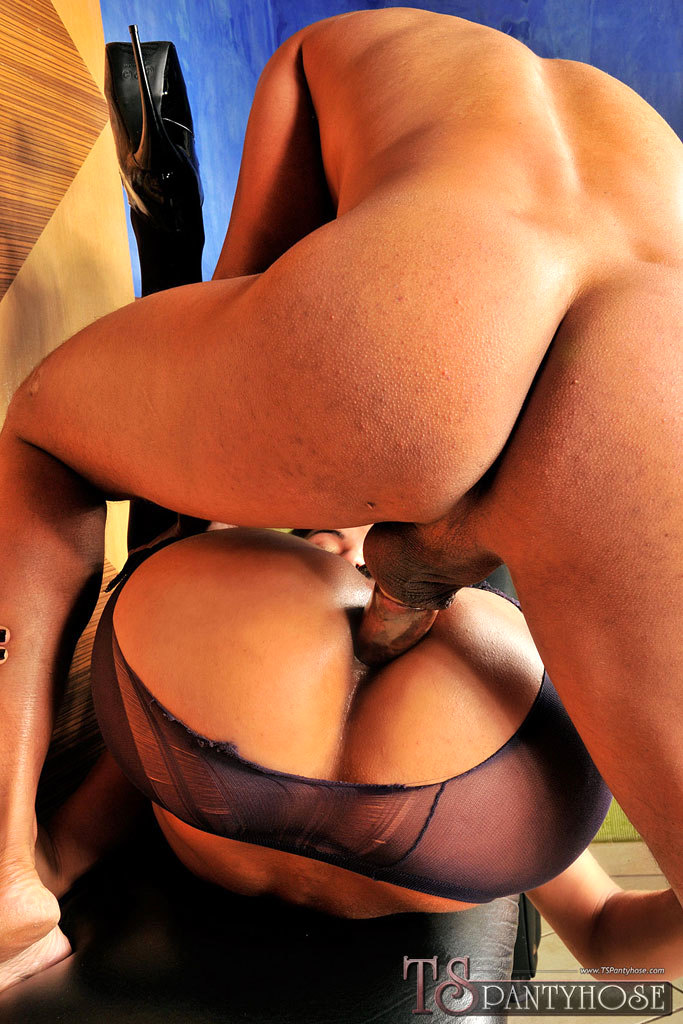 T-Girl Nympho Worked Over In Pantyhose