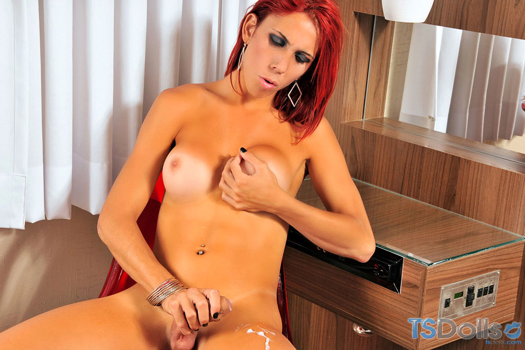 Thin And Arousing Shemale Pietra Stroking Her Dick