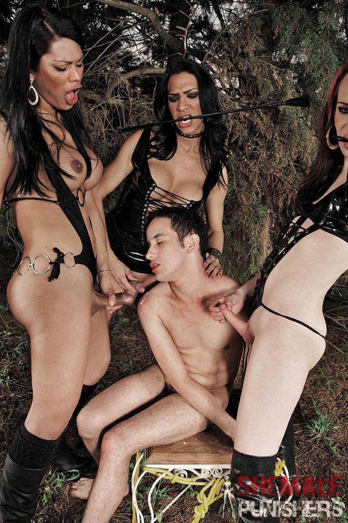 Three Tgirl Dommes Take Turns Dominating