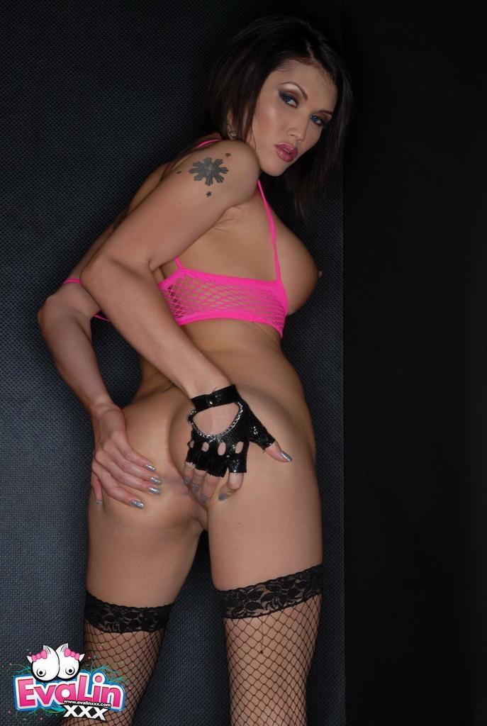 Filthy Eva Strips Poses In Fishnets