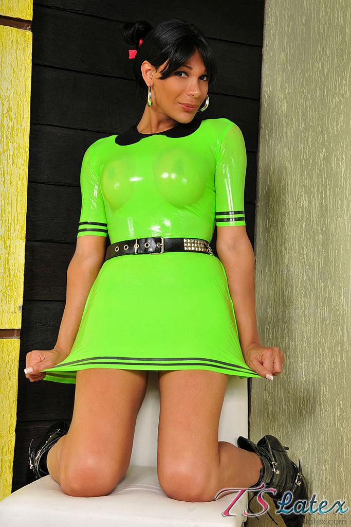 Skimpy Green Latex Clad Femboy Babe
