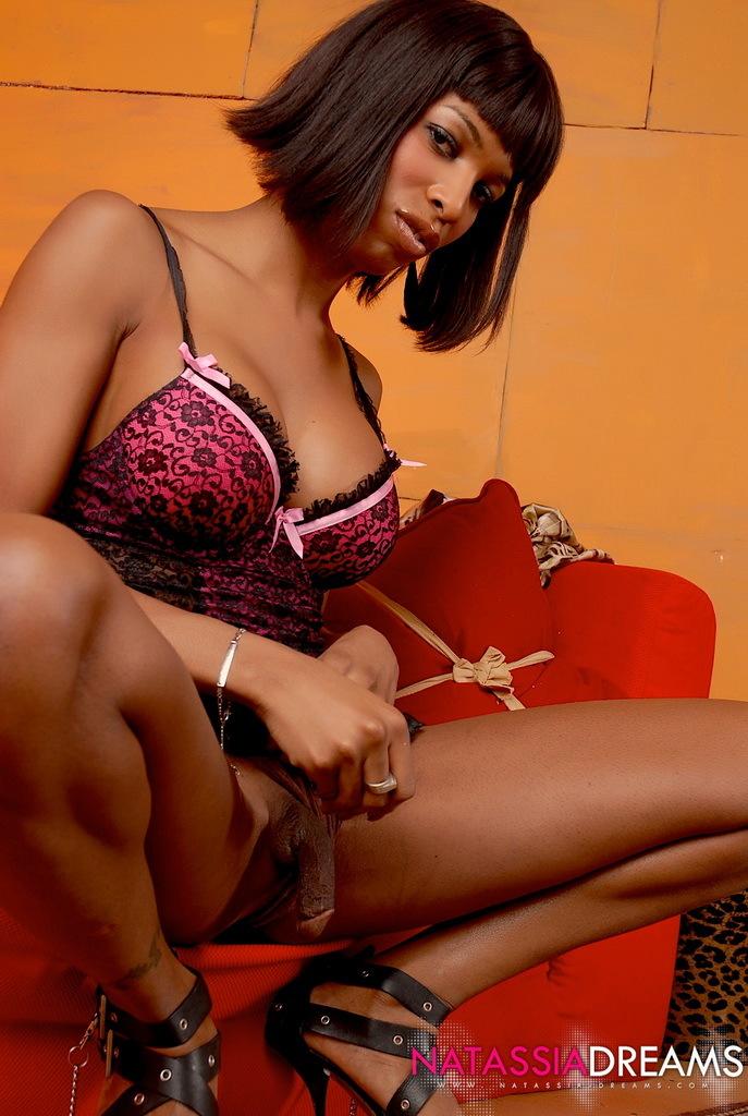 Slutty Ebony Transsexual Posing In Slutty Panties