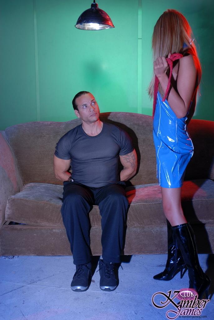 Yummy TS Kimber James Interrogating A Man Hard
